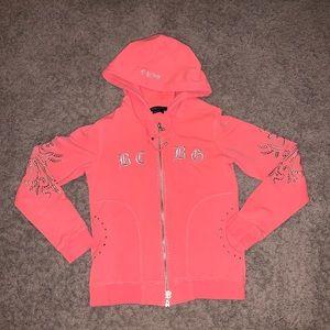 BCBGMaxAzria orange pink zip up hoodie jacket S